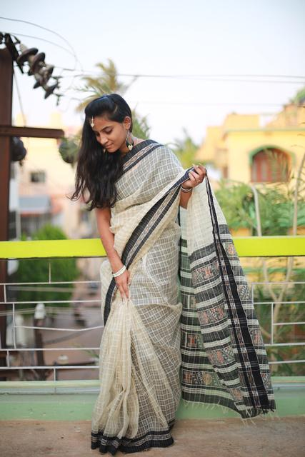 Saree - Black Weaves on Soft Off-White Tussar Net