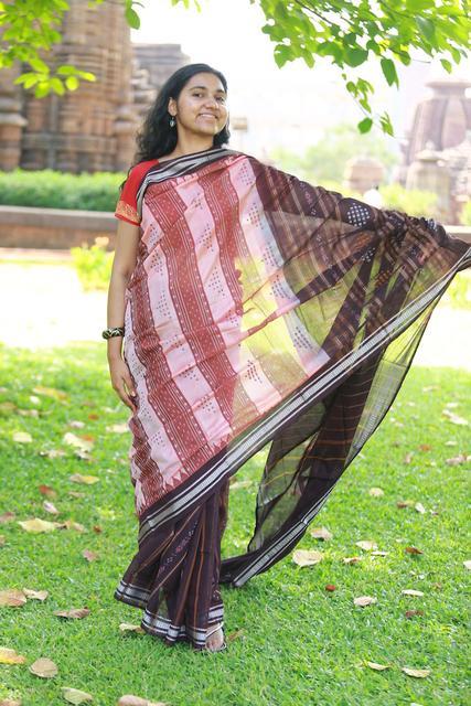 Saree in Bafta Maroon Pink Silk Cotton Interweave