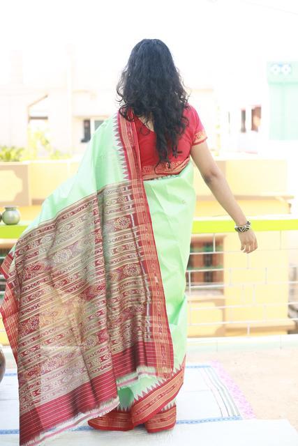 """Light Aqua with Butis - Kumbha Silk """"Saree"""""""