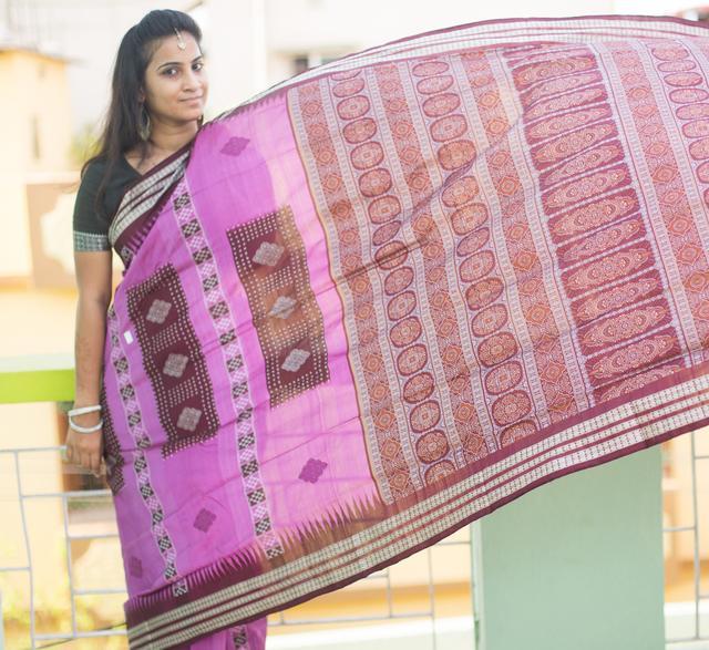 Orissa Saree - Golden Bomkai Anchal