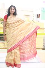 """Red and Green coloured motifs of Chandan Coloured Silk """"Saree"""""""