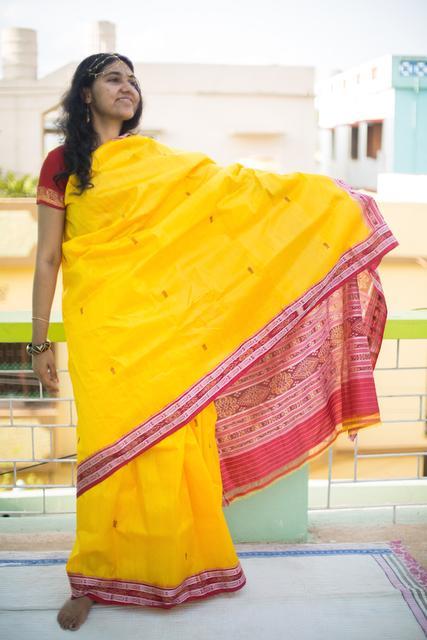 Odisha Silk Saree - Red Fish patterns over Yellow body