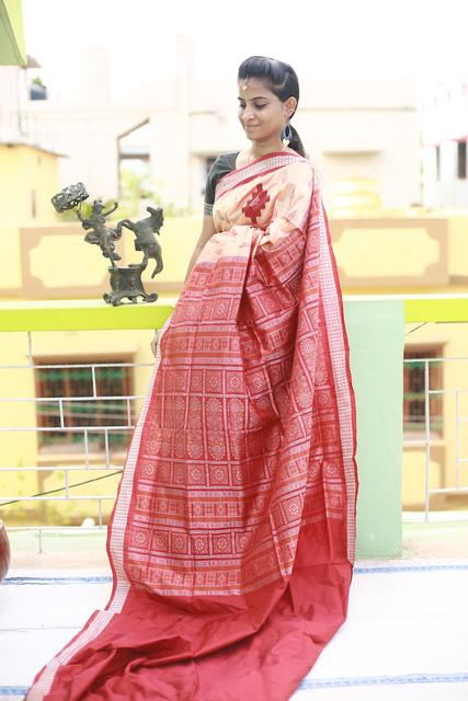 """Golden Bomkai Anchal with Red Weaves over Cream body """"Saree"""""""