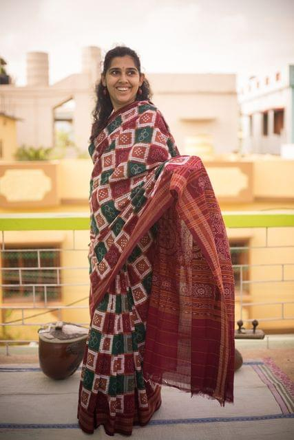 """Saree"" with Maroon and Green Squares"