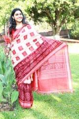 "Lions and Konark Wheels - Delightful Red and Peach ""Saree"""