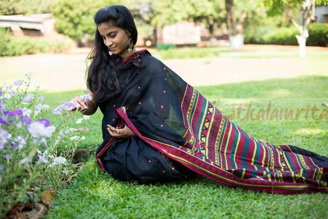 Elegant Black Dongria Saree