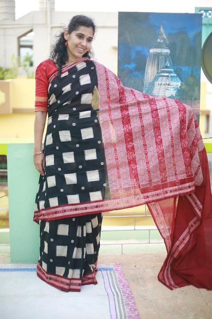 Bomkai Bandha Mix Saree with Floral and Checkered Patterns