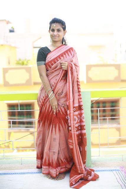 Temple Design Red and Cream Odisha Bomkai Cotton Saree