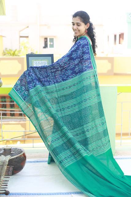 Dark Blue and Bright Green Odisha Cotton Saree Adorned with Elephants and Trees