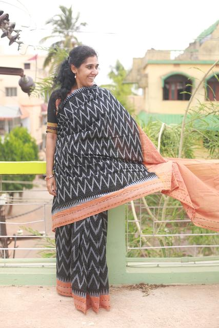 "Paper Design Odisha Sambalpuri Black and Orange Ikkat Cotton ""Saree"""