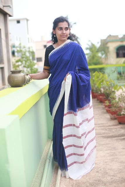 Odisha Cotton Plain Indigo Saree with White Temples