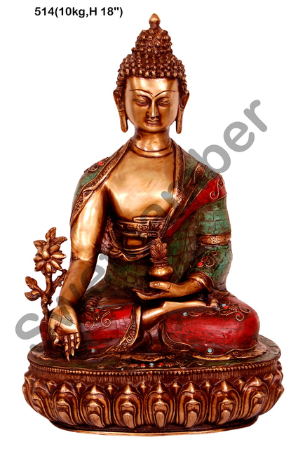 Brass Buddha in turquoise and coral