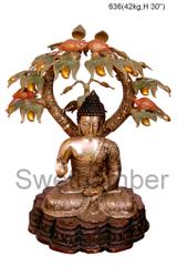 Brass Buddha under tree
