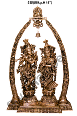 Brass  Radha Krishna set with Tusk arch