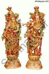 Brass Tri Colour Radha Krishna set