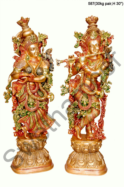 Brass Tri Colour Radha Krishna set