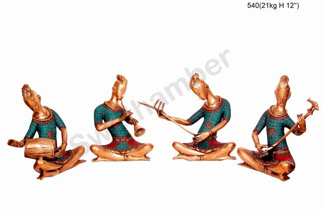 Brass 4 piece Musical Set - men - Inlay