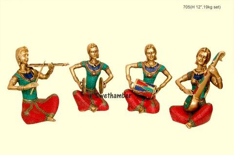 Brass 4 piece Musical Set - women -Inlay