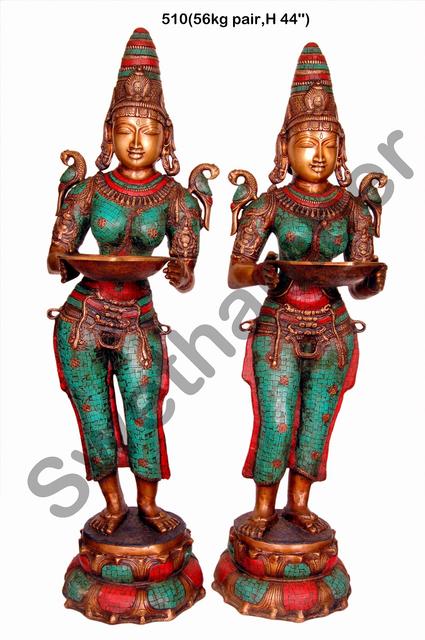 Brass turquoise coral Deepa Lakshmi Set of 2