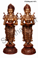 Brass Deepa Lakshmi Set of 2