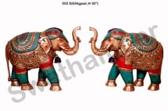 Brass turquoise coral Elephant Set of 2
