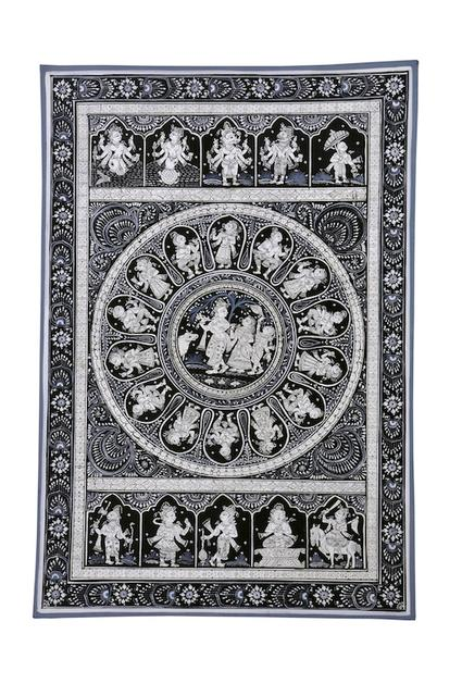 PattaChitra - Krishna Raas Leela with dashavatar in black and white