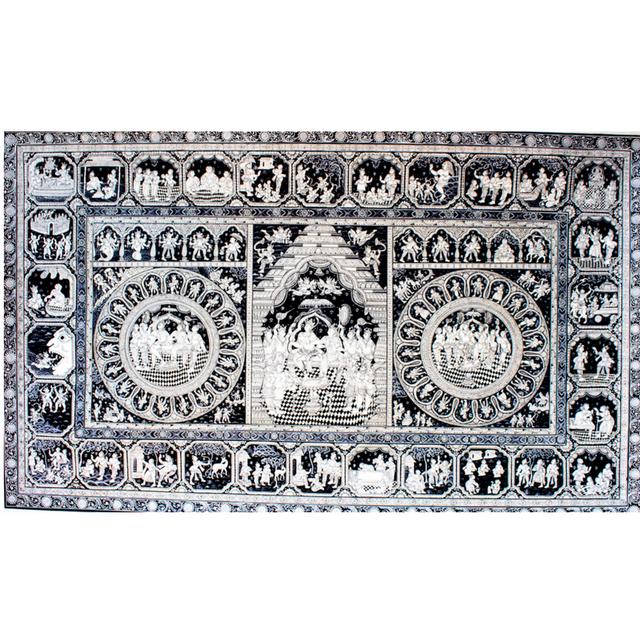 Pattachitra-Ramayana story with Rama Pattabhishek in the Centre - Black & White