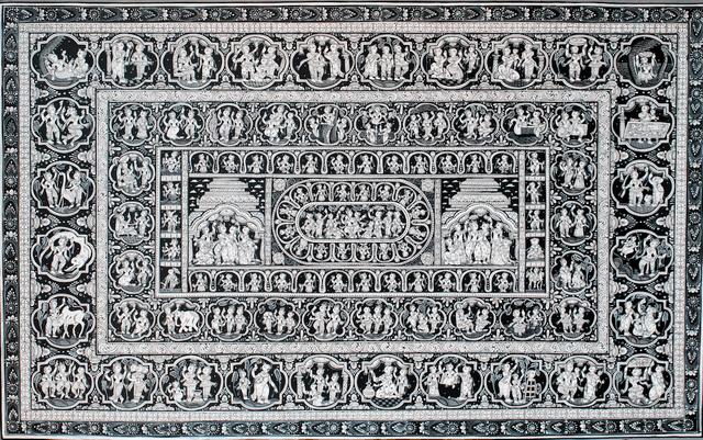 Pattachitra - Krishna Katha with  dashavatar in Black and white