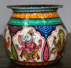 Kalash (Pot) with Coloured Ganesha - Pattachitra Fusion