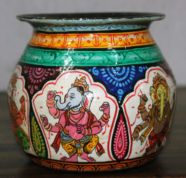 Kalash (Pot) with Coloured Ganesha - Pattachitra Fusion