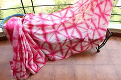 Shibori Mul Cotton Saree - Pink & White