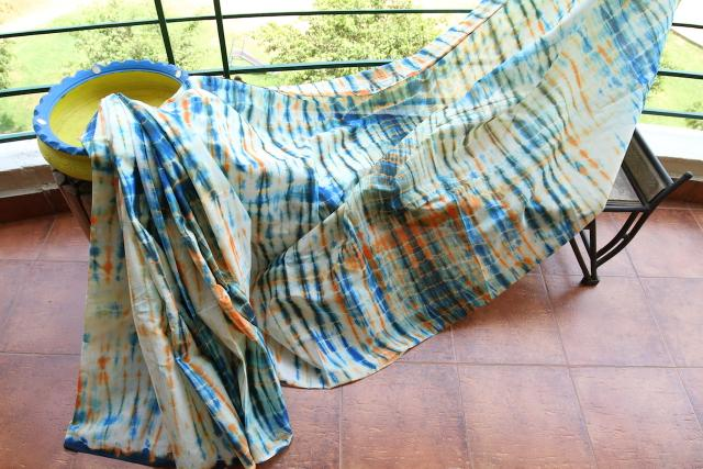 Shibori Mul Cotton Saree - White, Indigo & Orange
