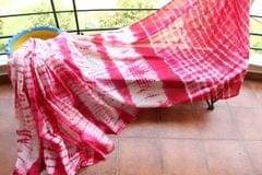 Shibori Mul Cotton Saree -  Hot Pink