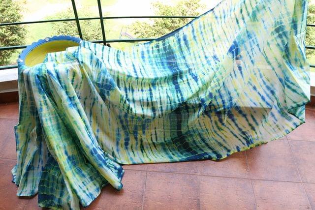 Shibori Mul Cotton Saree - White, Indigo & Yellow