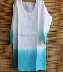 Chikankaari - Short Kurta -Ombre Turquoise