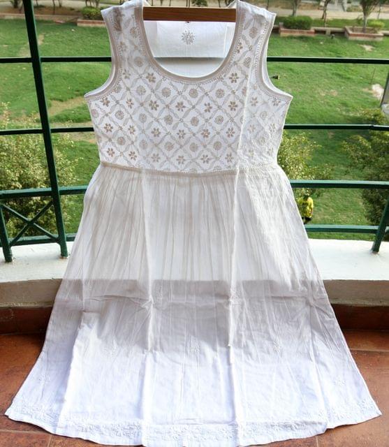 Chikankaari Dress with lining-White