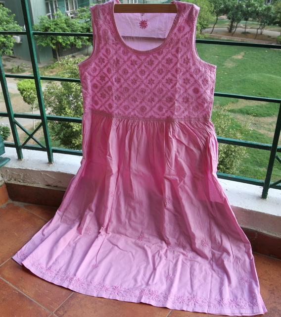 Chikankaari Dress with lining-Phalsa Pink