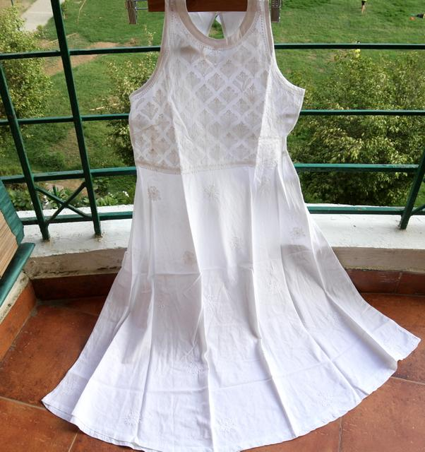 Chikankaari Dress without lining-White