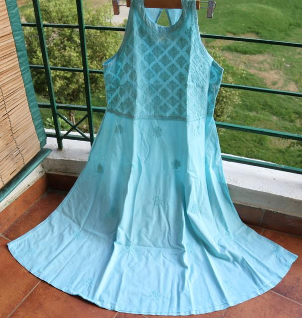 Chikankaari Dress without lining-Powder Blue