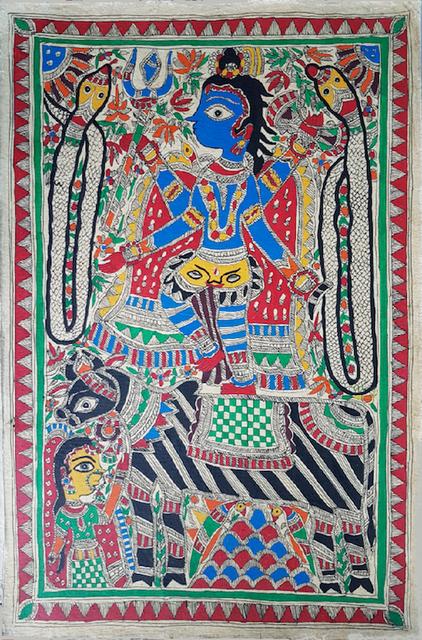 Madhubani Painting - Shiva  with Parvati and Nandi