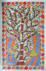 Madhubani Painting - Tree of Life with Birds