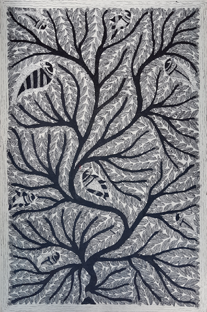 Madhubani Painting - Tree  with peacocks in Black and White