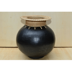 Round vase with cane neck