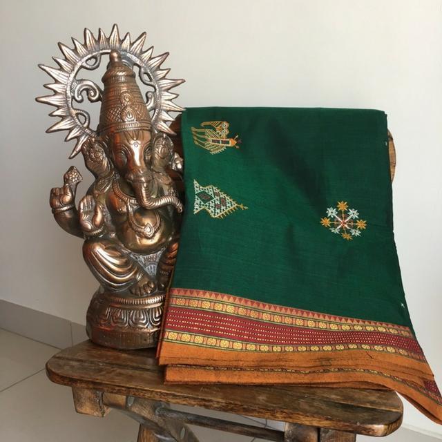 Kasuti Work - On Betageri Cotton Saree - Dark Green