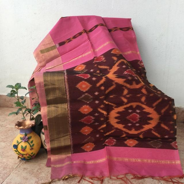 Pochampally Cotton Silk - Pink and Brown