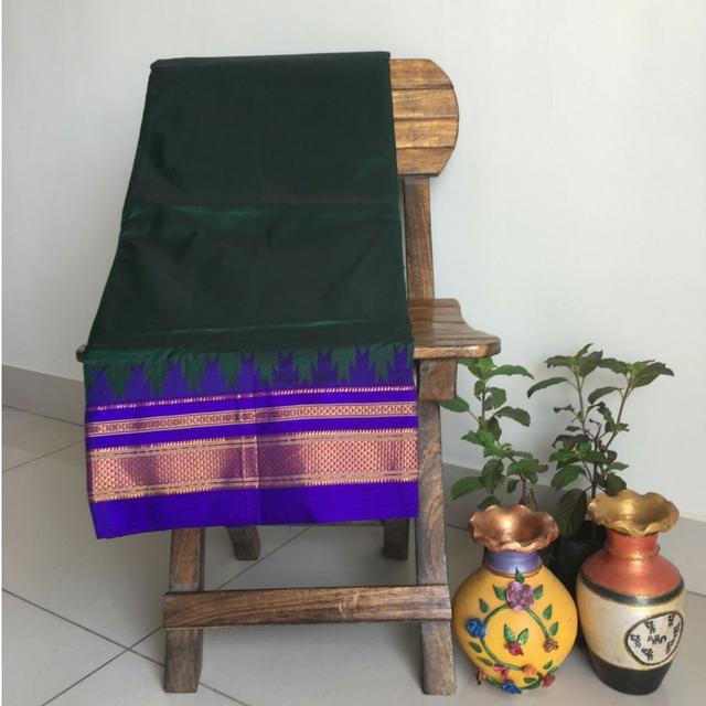 Ilkal Pure Silk - Green With Blue Temple Border