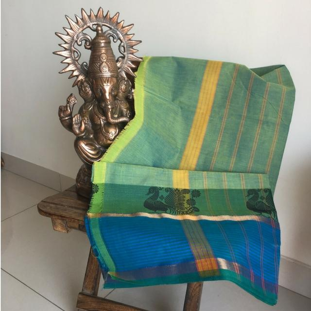 Chettinad Cotton - Light Green Saree With Peacocks Woven On Blue Border