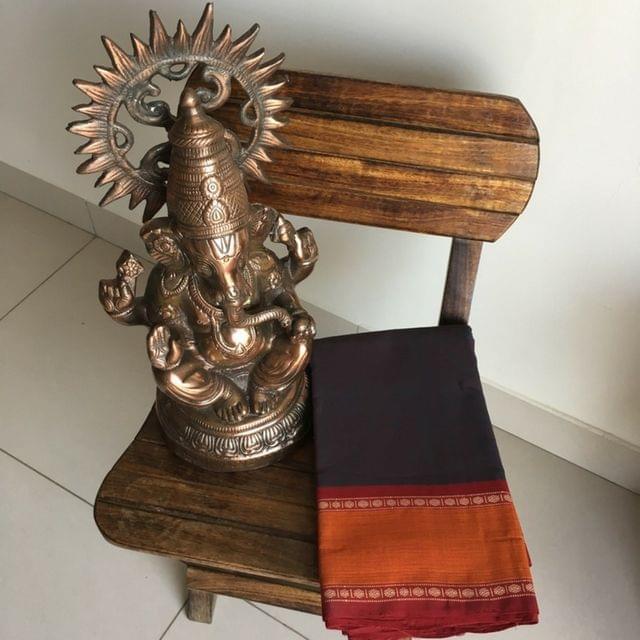 Chettinad Cotton - Dark Brown Plain Saree With Rudraksha Motifs On The Border