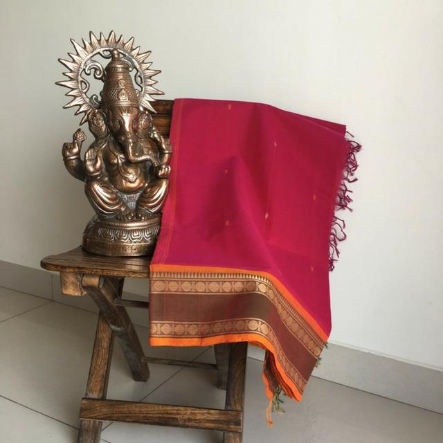 Chettinad Pink Cotton Saree With Rudraksha Motifs On The Brown & Orange Border