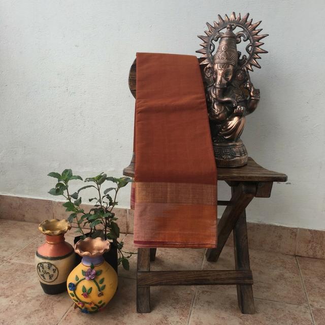 Chettinad Brown Cotton Saree With Pochampally Border And Pallu